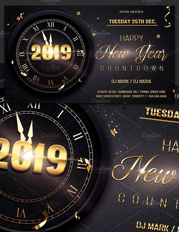 new year party flyer psd template flyers