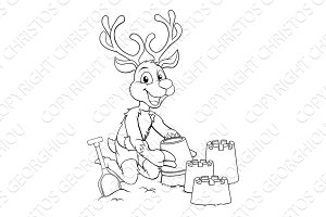 Christmas Reindeer on Beach Making