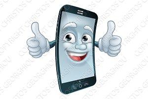 Mobile Cell Phone Mascot Cartoon