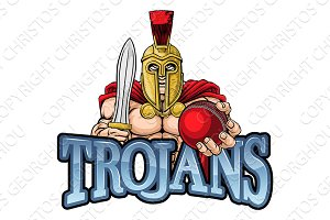 Trojan Spartan Cricket Sports Mascot