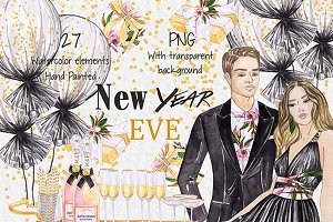 Watercolor New Year ClipArt New Year