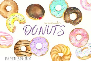 Watercolor Donuts Clipart Pack