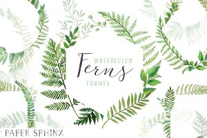 Watercolor Fern Frames