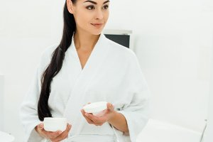attractive woman in white bathrobe h