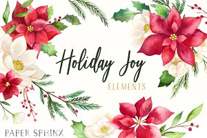 Watercolor Christmas Florals