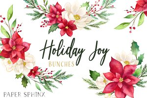 Watercolor Christmas Flower Layouts