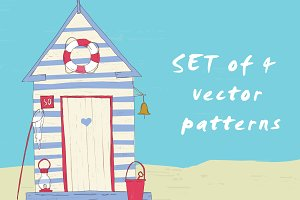 4 Nautical vector seamless patterns.