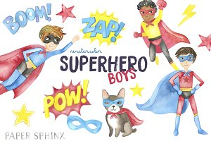 Watercolor Superhero Clipart - Boys
