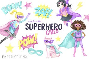 Watercolor Superhero Clipart - Girl