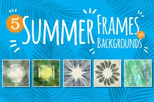 5 summer frames and backgrounds