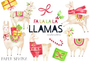 Christmas Llamas Clipart