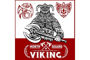 Viking warrior with big axes