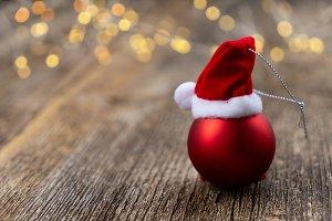 red christmas with bokeh lights