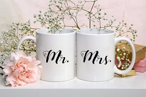 Wedding Mugs Mock-up. PSD+JPG
