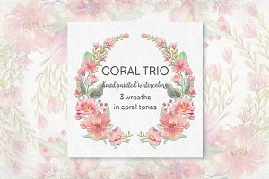 Coral and blush: trio of wreaths