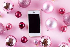 Christmas mock up with white phone