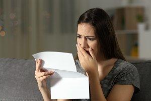 Sad woman complaining reading