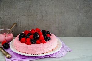 Pink cake with berries