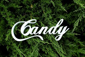Wooden white word Candy