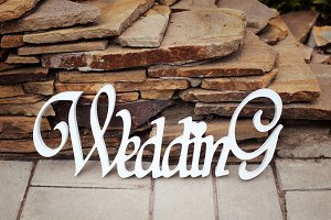 Wooden white word Wedding