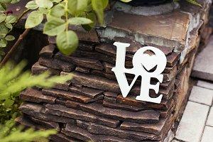 Wooden white word Love