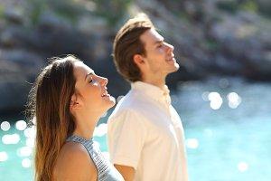 Couple breathing fresh air