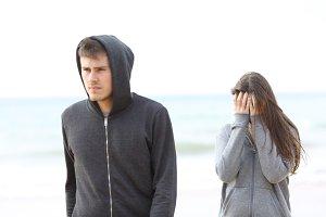 Couple break up on the beach