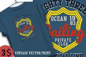 sailing application and tshirt print