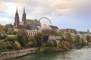 Basel city view with munster and fer