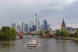 Frankfurt city view from river Main
