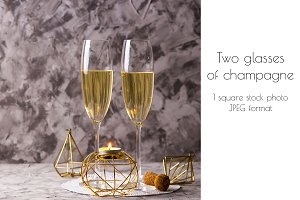 Two champagne glasses for Christmas