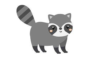 Cute raccoon. Cartoon forest animal