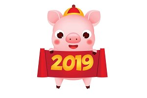 Chinese new year Pig hold scroll