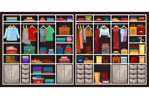 Set of en and women wardrobes