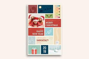 Cute Christmas and New Year Card V04