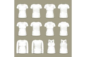 Set of isolated white woman shirts