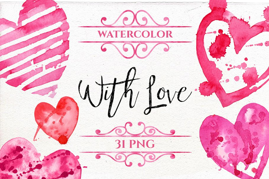 Watercolor Valentine's Day Clipart