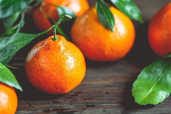 Tasty tangerines on a table