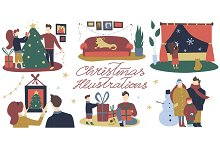 Cartoon Christmas Illustration Set