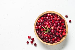Cranberry in the bowl on white