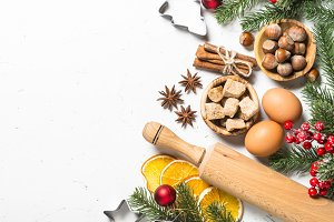 Christmas food baking background top