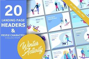 Winter activities. Landing pages set
