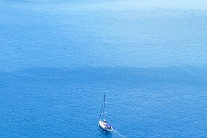 Sailboat in open sea. Yachting sport