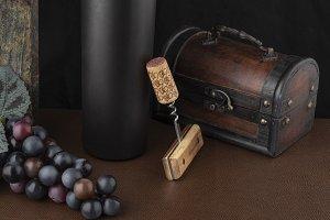 Fine art still life, of wine bottle