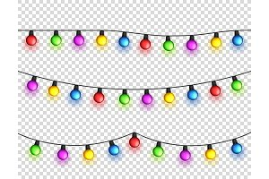 Christmas glowing lights. Garlands