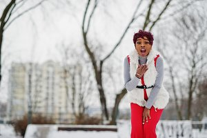 African american woman in red pants