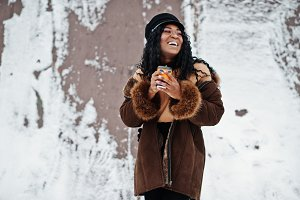 African american woman in sheepskin