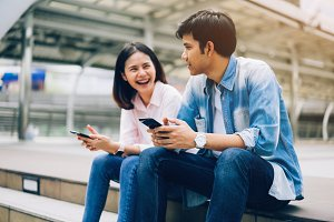 Young people are using smartphone an