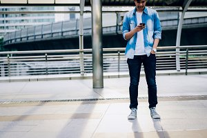 Man holding a smartphone. using cell