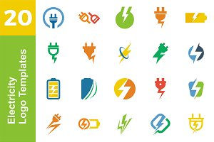 20 Logo Electicity Templates Bundle